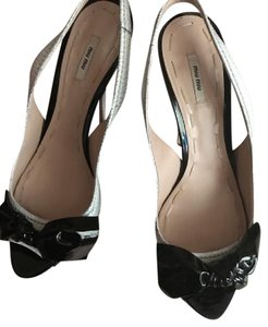 Miu Miu White with Black Bows Pumps