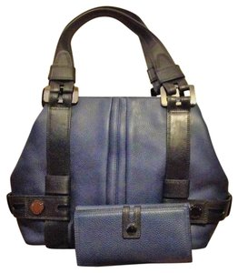 Michael Kors Harness Grab Leather Tote in Black/Navy
