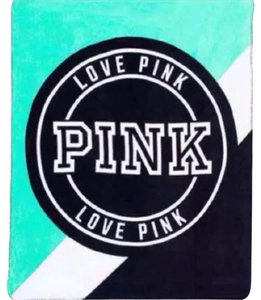 Victoria's Secret VS LOVE PINK SOFT PLUSH FLEECE BLANKET THROW Mint turquoise