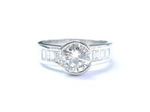 Other 18Kt Halo Round & Baguette Diamond White Gold Engagement Ring 1.55Ct