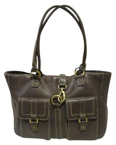 Chaps Leather Tote in Brown