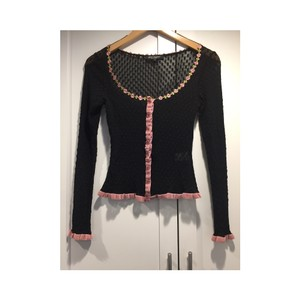 Betsey Johnson Button Down Shirt Black and pink