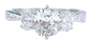 Other 18Kt Cushion & Oval Diamond 3-Stone Engagement White Gold Ring 1.82Ct