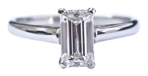 Tiffany & Co. Tiffany & Co Platinum Emerald Cut Diamond Solitaire Engagement Ring .9