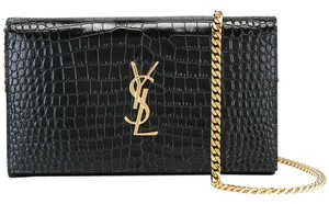 Saint Laurent So Woc Wallet Ysl Croc Shoulder Bag