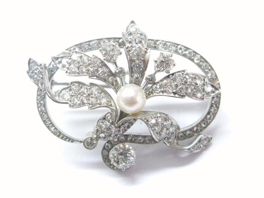 Other 18Kt Vintage Old European Cut Diamond Pearl Pin/Brooch 5.5mm 4.49CT Wh Image 3