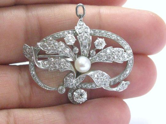 Other 18Kt Vintage Old European Cut Diamond Pearl Pin/Brooch 5.5mm 4.49CT Wh Image 4