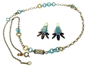J.Crew Long Blue Lucite Chain And Gold Chain Necklace with Matching Earrings