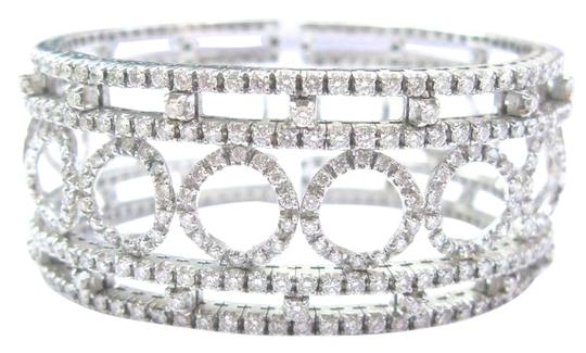 Other 18Kt Round Brilliant Diamond Circular WIDE White Gold Cuff Bracelet 3. Image 0