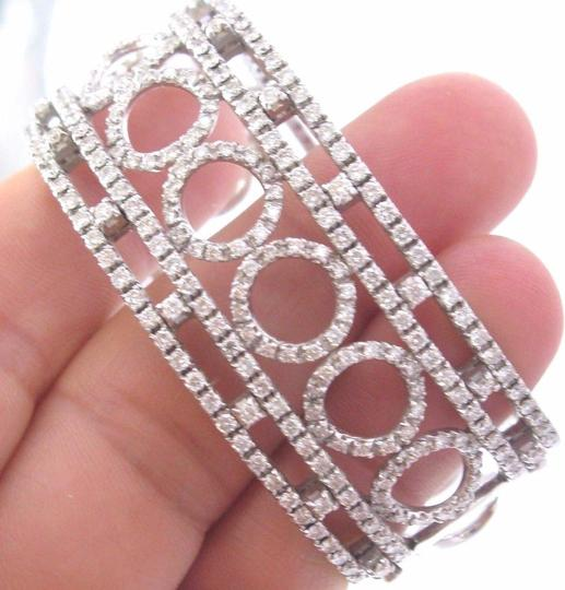 Other 18Kt Round Brilliant Diamond Circular WIDE White Gold Cuff Bracelet 3. Image 3