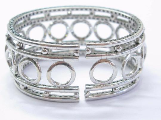 Other 18Kt Round Brilliant Diamond Circular WIDE White Gold Cuff Bracelet 3. Image 4
