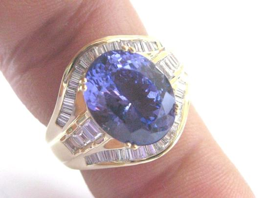 Other 18Kt Gem Tanzanite Diamond Yellow Gold Jewelry Ring 6.93Ct Image 3