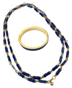 J.Crew Long Blue Enamel And Gold Necklace With Blue Hinged Bangle Bracelet
