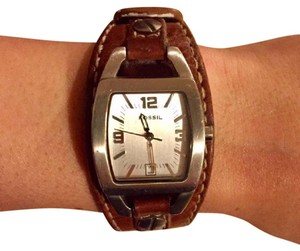 Fossil Fossil watch with brown leather strap
