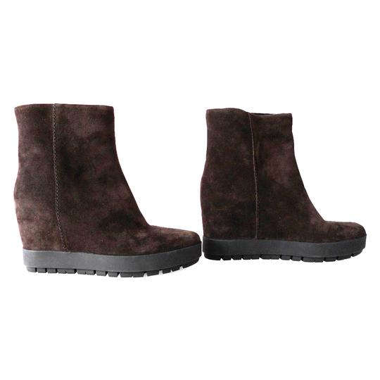 Prada Ankle Suede Wedge Brown Boots Image 3