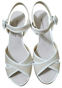 Apostrophe Nude & White Wedges