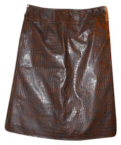 Nanette Lepore Faux Leather Crocodile Embossed A-line Pleated Skirt Brown