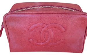 Chanel red caviar cosmetic pouch case