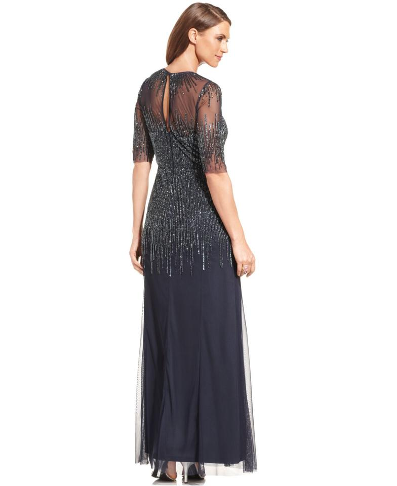 Adrianna Papell Midnight Elbow-sleeve Beaded Illusion Gown Long ...