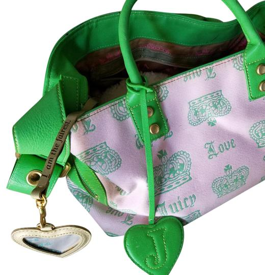 Preload https://img-static.tradesy.com/item/20975683/juicy-couture-pink-and-kelly-green-wbrass-accents-brocade-canvas-leather-satchel-0-2-540-540.jpg