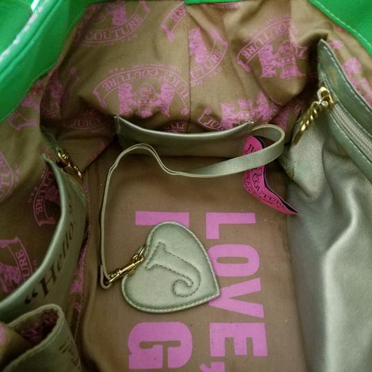 Juicy Couture Satchel in Pink & Kelly Green w/brass accents. Image 1