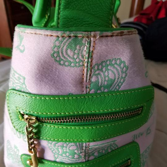 Juicy Couture Satchel in Pink & Kelly Green w/brass accents. Image 11