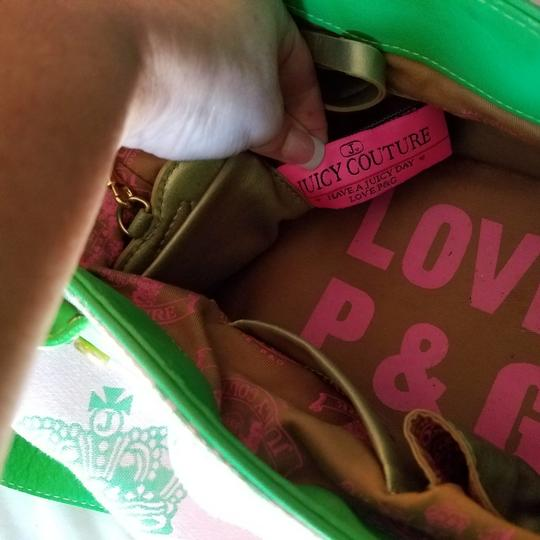 Juicy Couture Satchel in Pink & Kelly Green w/brass accents. Image 2