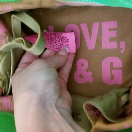 Juicy Couture Satchel in Pink & Kelly Green w/brass accents. Image 3