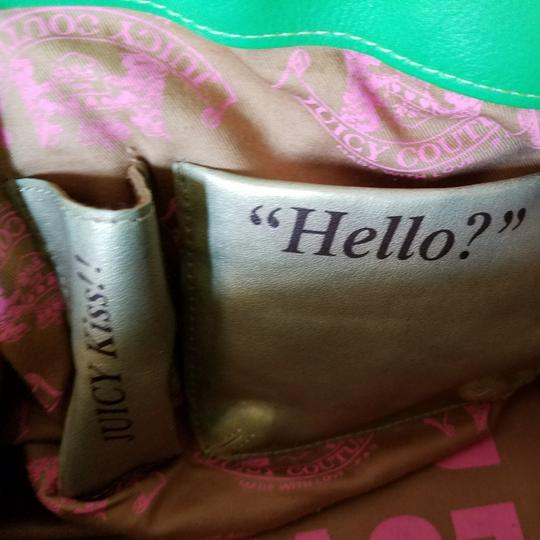 Juicy Couture Satchel in Pink & Kelly Green w/brass accents. Image 4