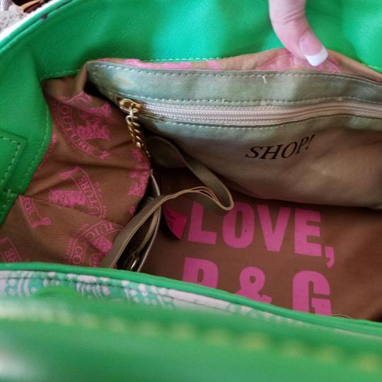 Juicy Couture Satchel in Pink & Kelly Green w/brass accents. Image 7