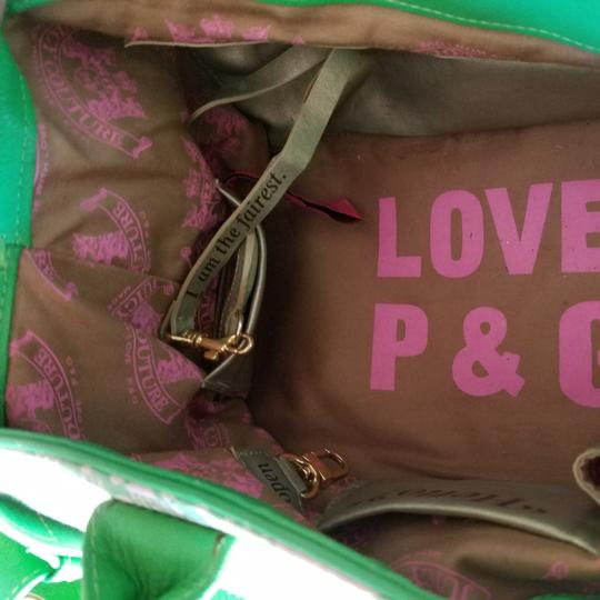Juicy Couture Satchel in Pink & Kelly Green w/brass accents. Image 8