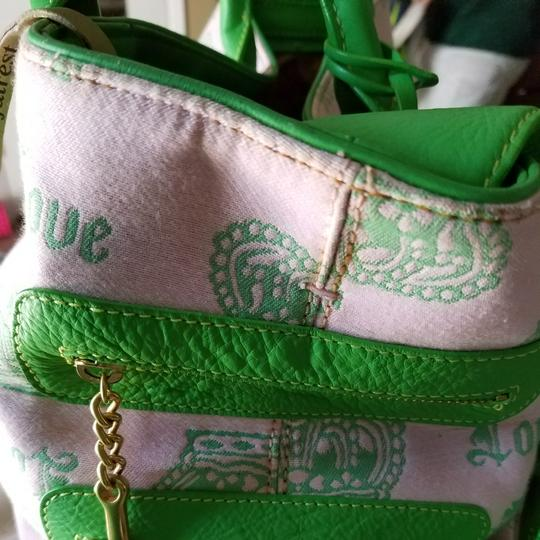 Juicy Couture Satchel in Pink & Kelly Green w/brass accents. Image 9