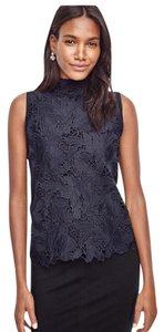 Ann Taylor Sleeveless Lace Top Navy
