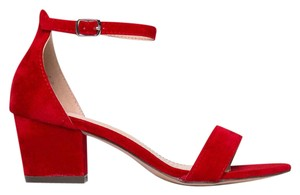 J. Adams Ankle Strap Suede Open Toe Heel Red Sandals