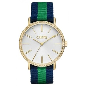 Chaps Chaps Women's Whitney Navy & Green Grosgrain Watch CHP1016