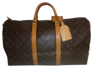 Louis Vuitton Keepall Vintage Leather 50 Duffel BROWN Travel Bag