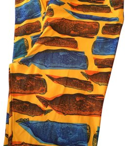 lularoe tc leggings orange background with blue and yellow whales Leggings