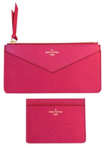 Louis Vuitton Jeanne Inserts Leather Fuchsia Credit Card Holder & Zippered Pochette