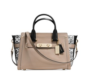 Coach Swagger Exotic Carryall Satchel in Stone / Light Gold