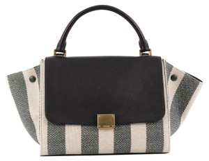 Céline Canvas Leather Satchel in Beige, Green, Black