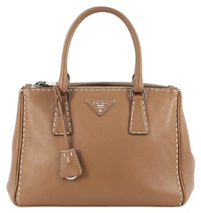 Prada Leather Tote in caramel brown