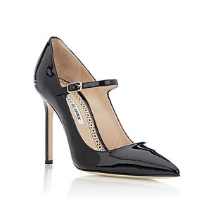 Manolo Blahnik Mary Jane Black Patent Pumps