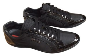 Prada Sport Fashion Sneakers Lace Up Patent & Saffiano Nylon & Leather Black Athletic