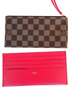 Louis Vuitton Brand New Felicie Damier Ebene Zippered Pochette and Red Credit Card Wallet