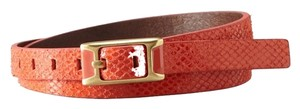 Fossil New! Fossil Belt Python Snake Embossed - L - CORAL Leather Skinny Belt BT4022