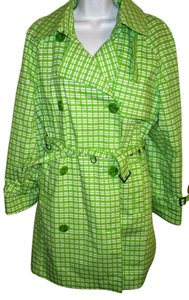 London Fog Gingham Spring Trench Pm Mp Trench Coat