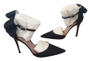 SJP by Sarah Jessica Parker Satin Blue Strappy Bow Navy Pumps