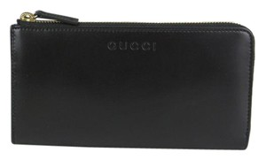 Gucci Women's Black Smooth Leather Zip Around Wallet w/Logo 332747 1000
