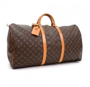 Louis Vuitton Monogram Coated Canvas Leather Vintage Brown Travel Bag