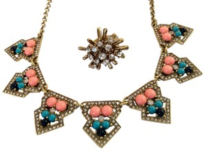 J.Crew Jeweled Turquoise and Coral Statement Necklace With Crystal Ring